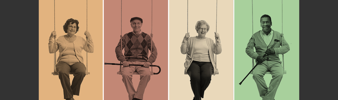 4 older adults sitting next to each other each in their own frame with a different color background on a swing set
