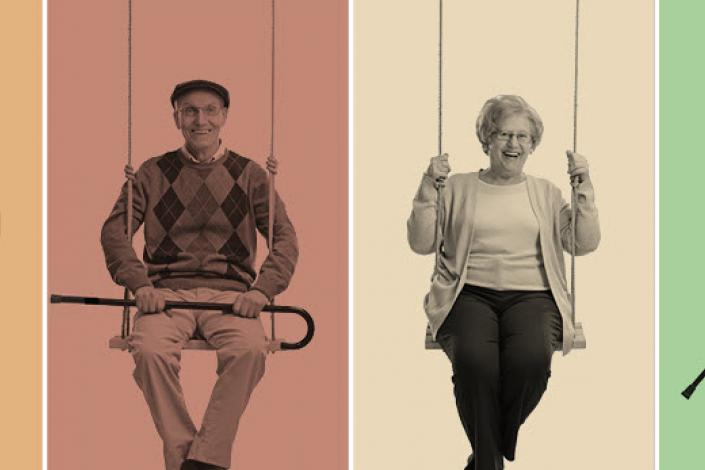 4 older adults each in their own frame sitting on swings